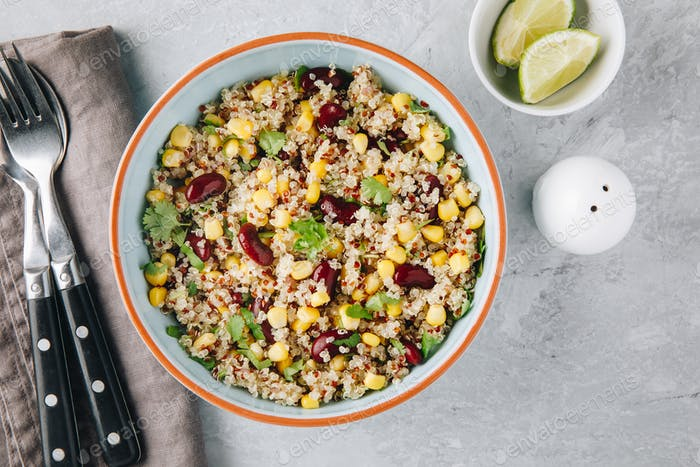 Quinoa salad with sweet corn, black beans and cilantro.