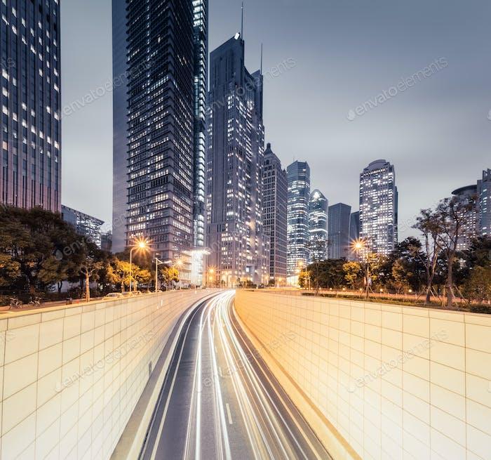 modern city night view in shanghai