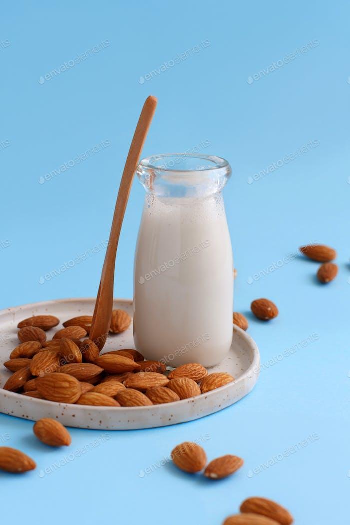 Vegan almond milk, non dairy alternative milk