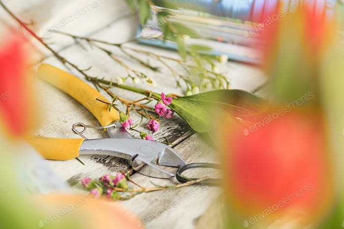 The florist desktop with working tools on white background