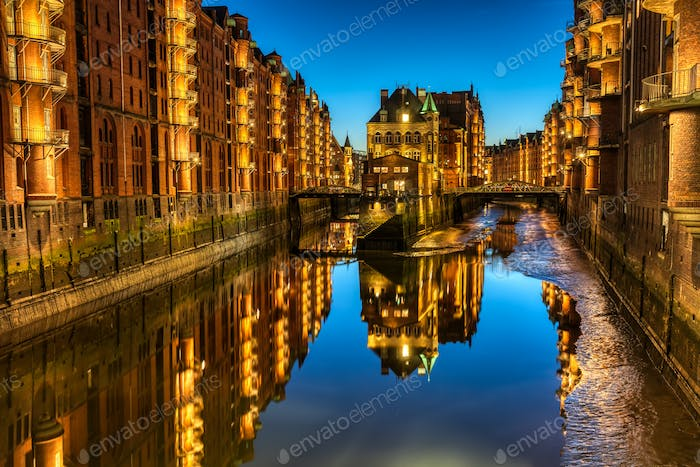 The historic Speicherstadt in Hamburg