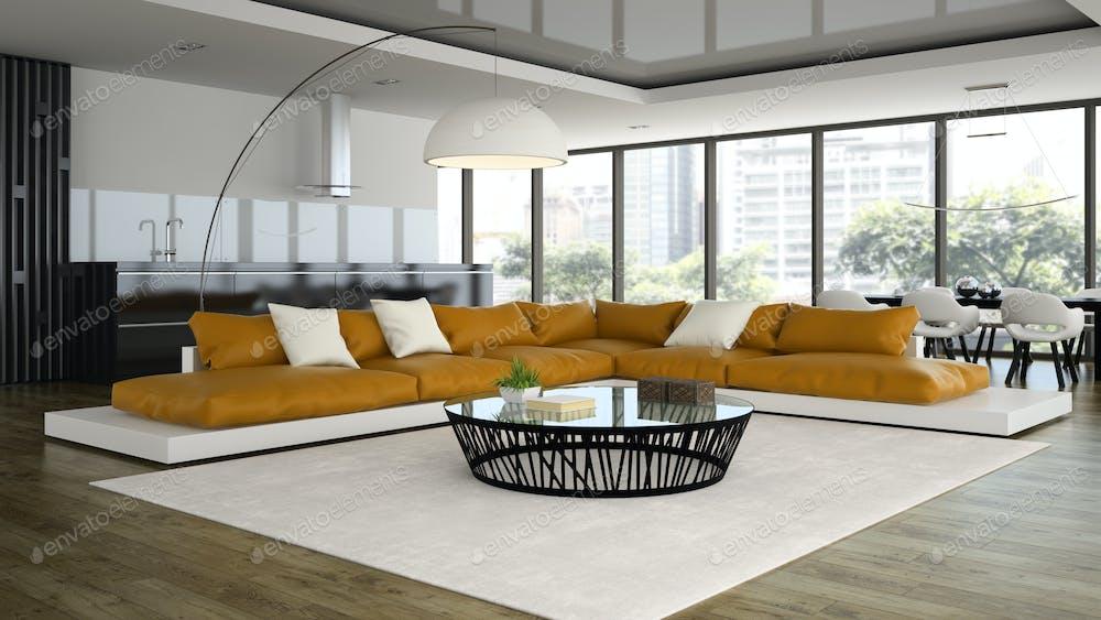 Interior Of Modern Design Room With White Armchair 48D Renderin Foto Interesting Modern Design Home