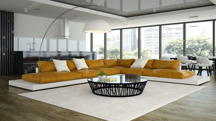 Interior modern design loft with orange sofa 3D rendering