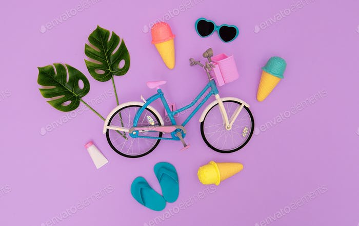 City bike toy and summer beach vibes. Minimal flat lay art