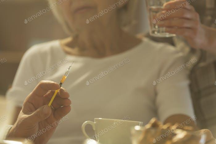 Syringe with medicine