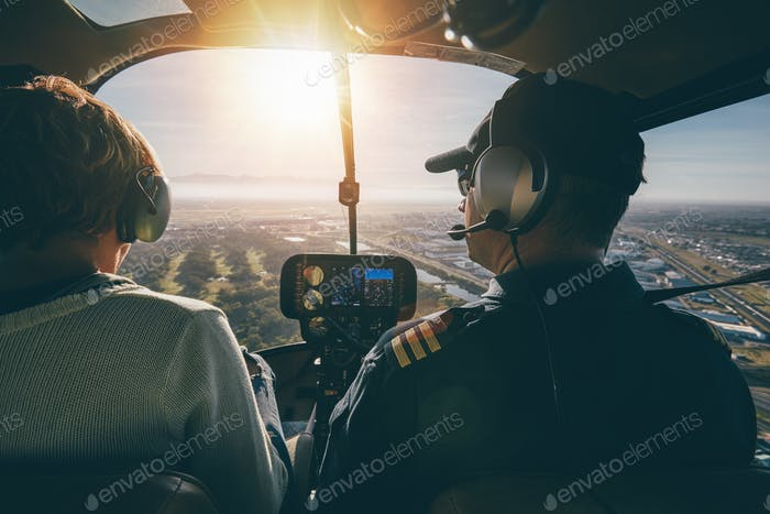 Inside view of a helicopter in flight