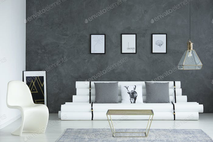 White and gray simple room