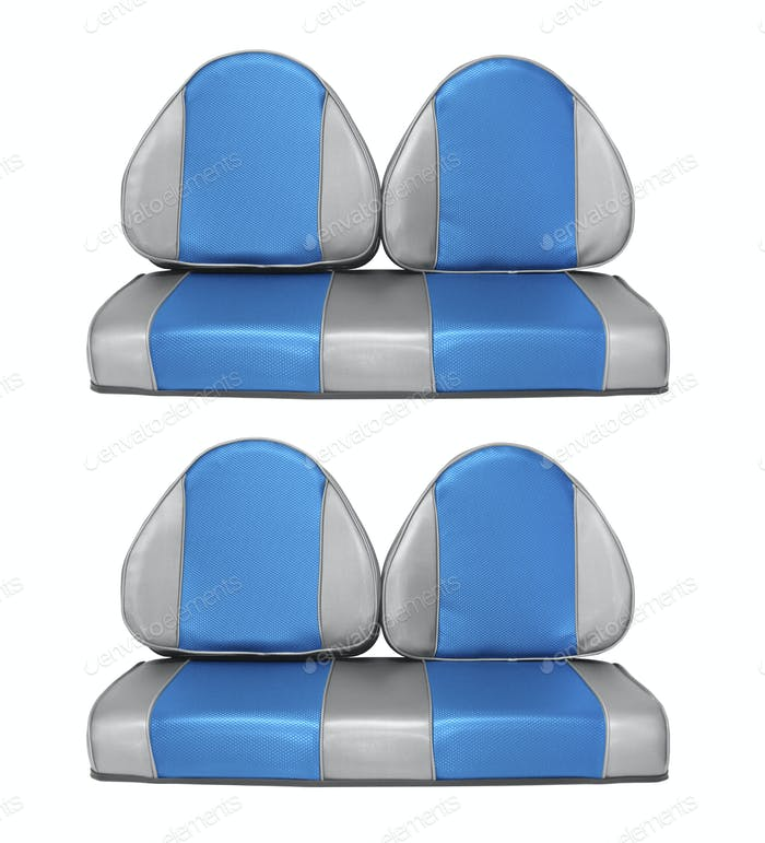 set of blue car seats isolated