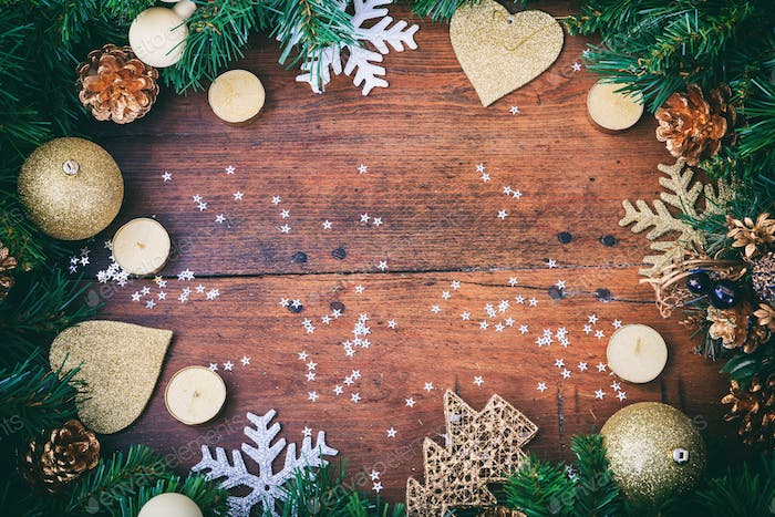 Christmas decoration on a wooden surface