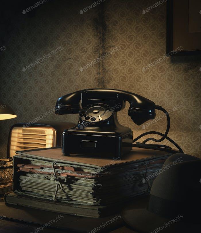 Vintage telephone on the desk