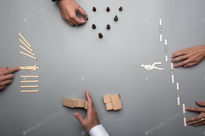 Top view of business team coming up with strategy