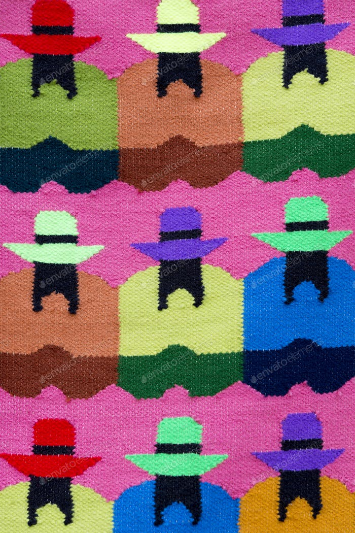 Indian Native Fashion and colored rug background, Peru