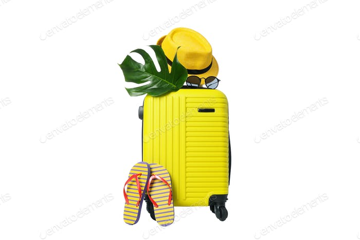 Composition with travel bag isolated on white background