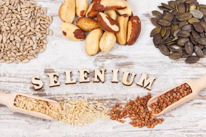 Zutaten oder Produkte als Quelle Selen, Vitamine, Mineralstoffe und Ballaststoffe