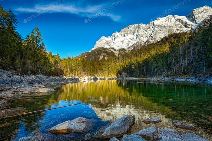 Frillensee lake  and Zugspitze - the highest mountain in German
