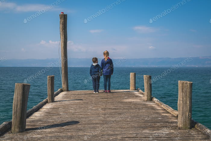 Children on a pier in Lake Ohrid