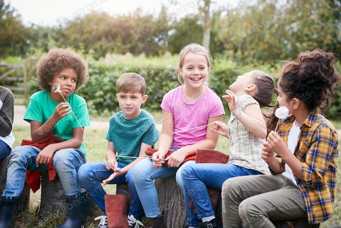 Kinder auf Outdoor-Aktivität Camping Reise Essen Marshmallows Rund Camp Feuer zusammen