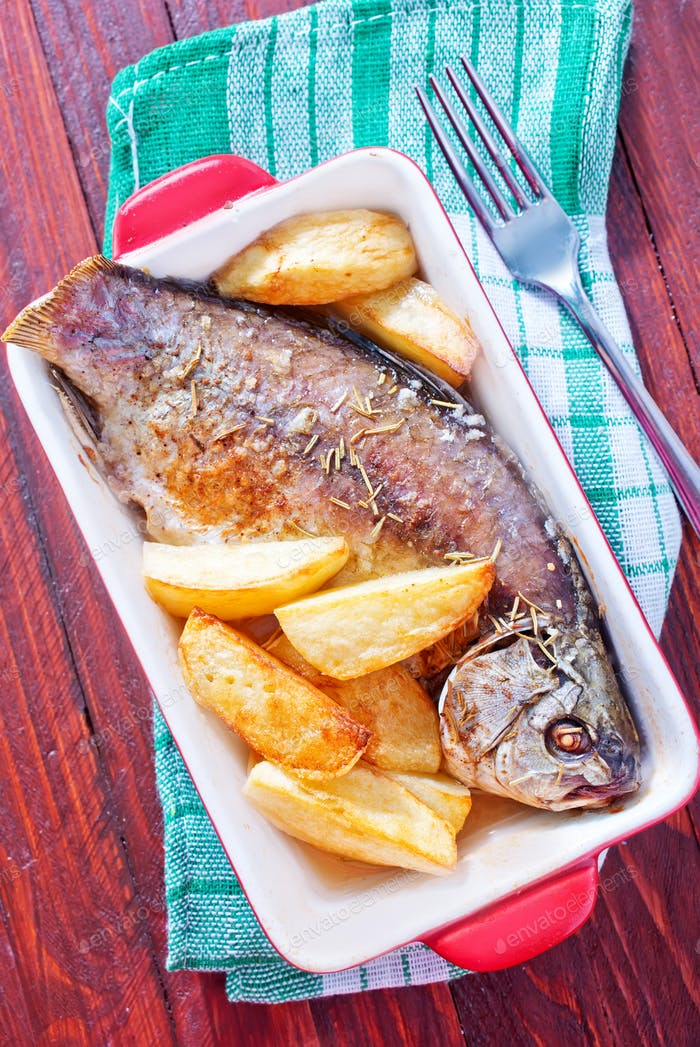 baked fish and potato