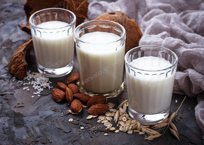 Oat, coconut and almond milk. Non-dairy vegan drink