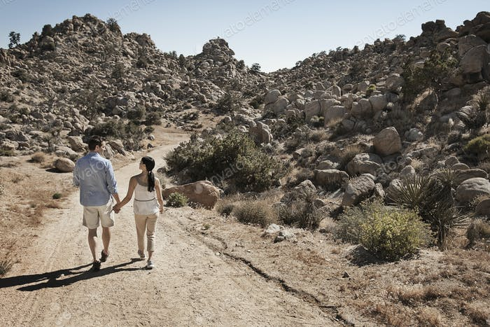 Two people, a couple walking through a rocky landscape along a path.