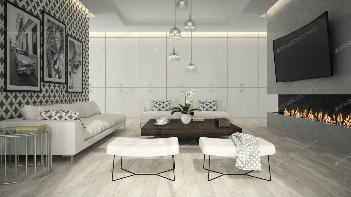 Interior of living room with stylish wallpaper 3D rendering 3 photo ...