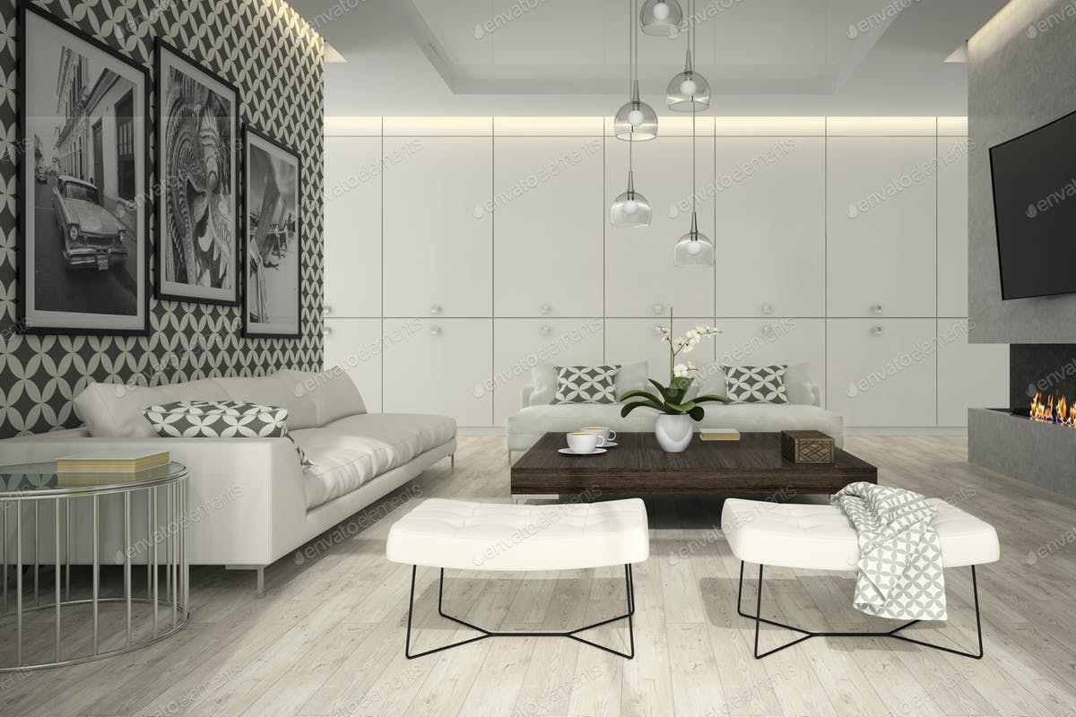 Interior Of Living Room With Stylish Wallpaper 3D Rendering 3 Photo By Hemul75 On Envato Elements