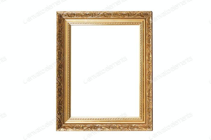 Goldener Vintage Rahmen isoliert auf weißem Hintergrund