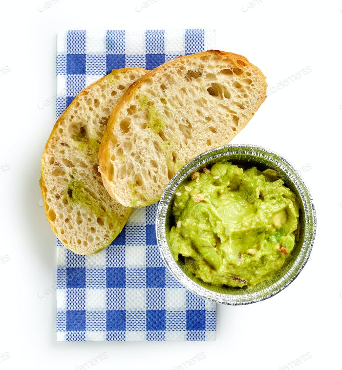 guacamole and toasted bread