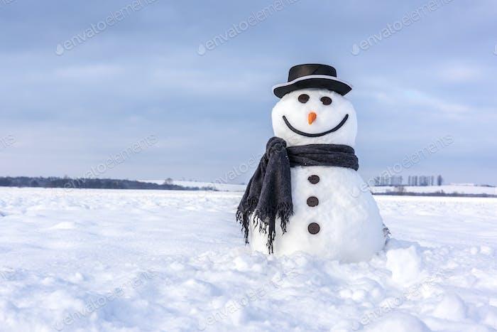 Смешной снеговик в черной шляпе