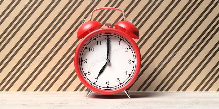 Red old alarm clock on wallpaper background, 3d illustration