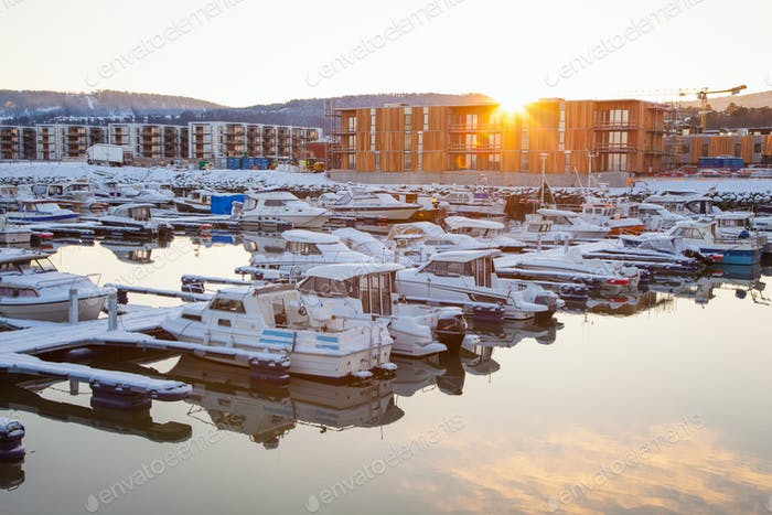 Winter view of a marina in Trondheim Grilstad