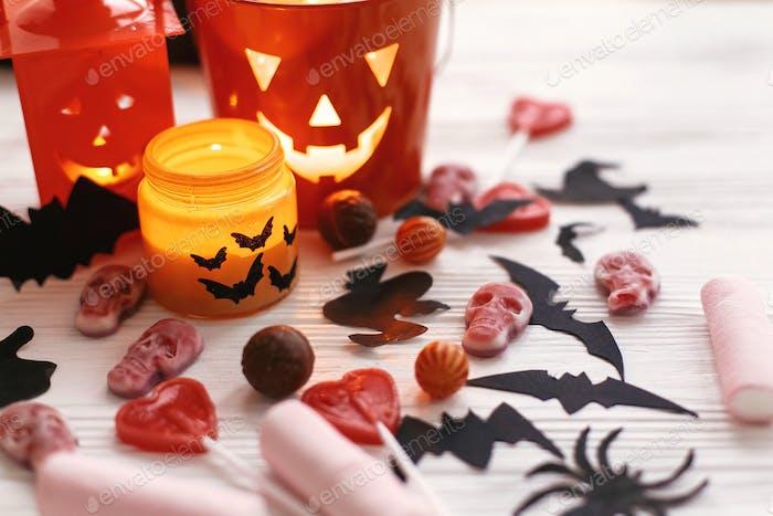 Halloween Jack o Lantern, candle light, holiday candy