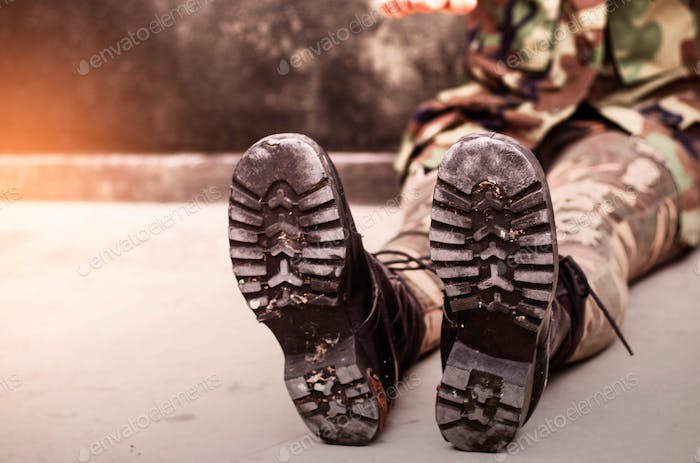 boots of soldiers with practicing