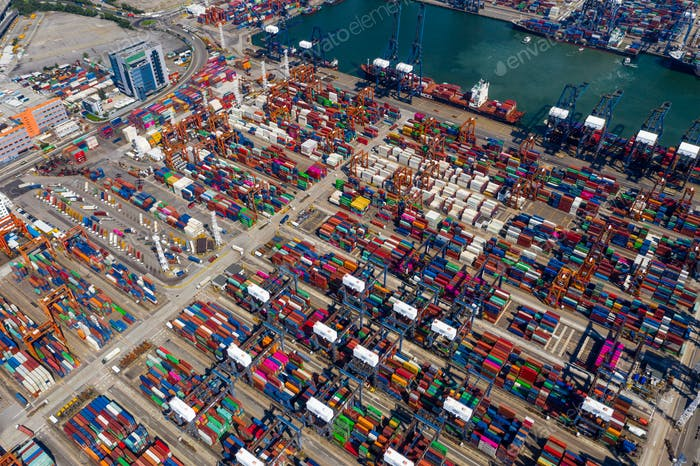 Kwai Chung Cargo Terminal in Hong Kong city