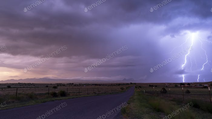 Farm Road Rural Country Storm Passing Lightning  Strike