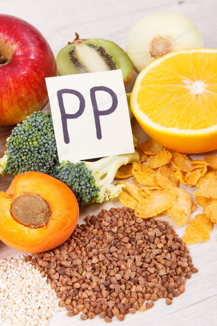 Nutritious eating containing vitamin B3 and other minerals, healthy nutrition concept