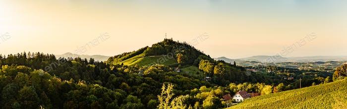 Sulztal, Styria Austria - 2 June 2018: Vineyards Sulztal Leibnitz area famous destination wine