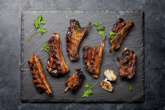 Barbecue beef ribs with bbq sauce sliced