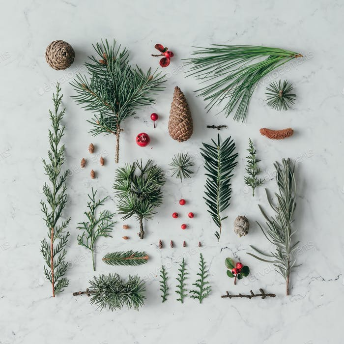 Creative natural layout made of winter things on marble background.