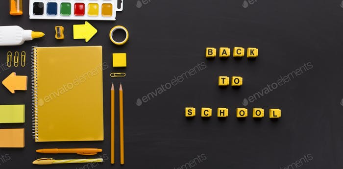 Yellow supplies with text on black background