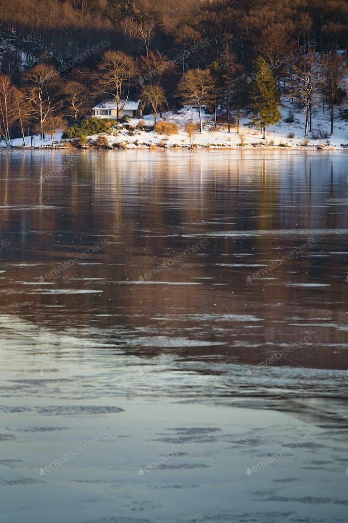 Frozen Lake Rursee At Rurberg, Germany