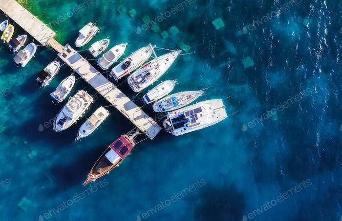 Mediterranean sea. View on the marina from drone.