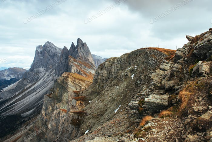 Outstanding hills of the Seceda dolomite mountains at daytime