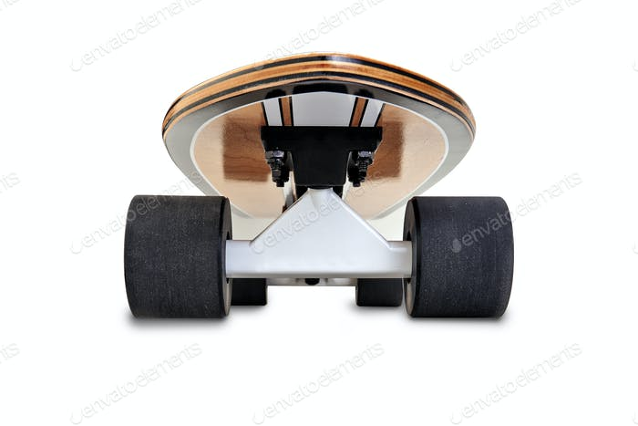 Dynamic front view of a Black and wooden skate board isolated