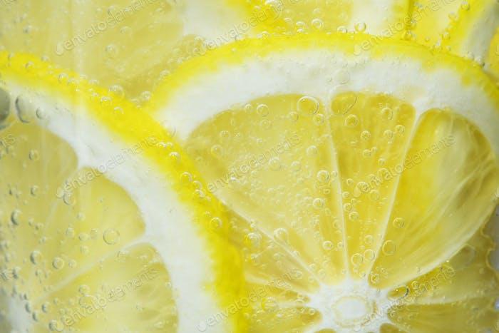 Slices of freshly cut lemon