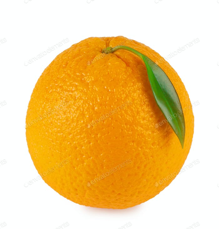 Orange ripe oranges with leaf