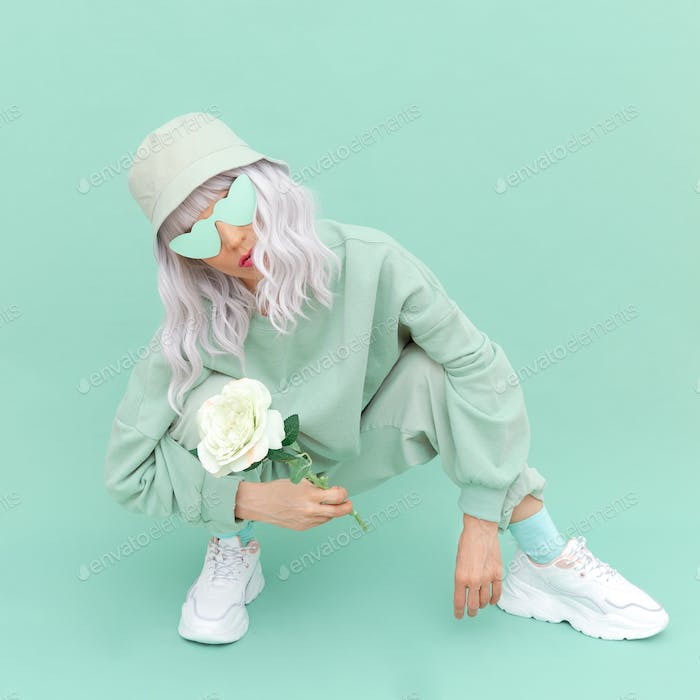 Fresh Mint urban look. Girl 90s aesthetic . Monochrome color trends.