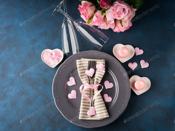Valentine's day romantic date concept with candles