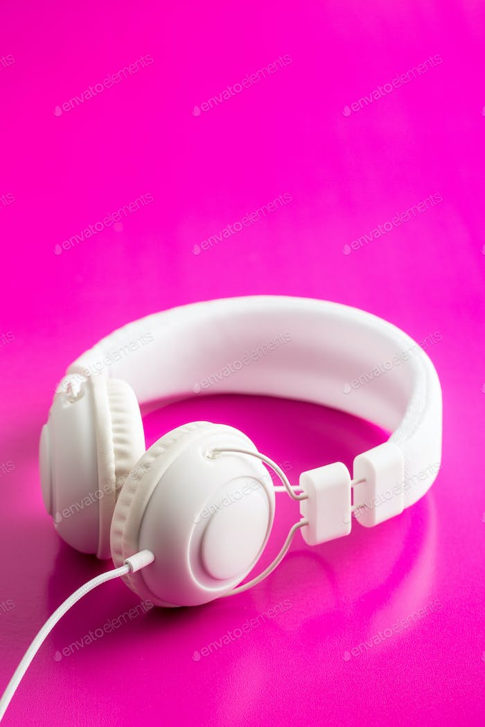 White hipster headphones.