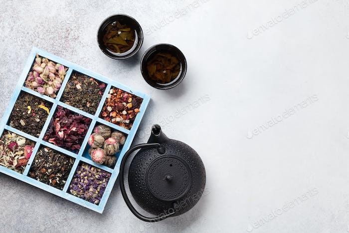 Various tea and teapot